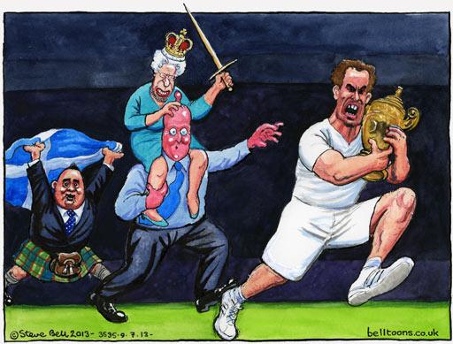 Caricature par Steve Bell pour The Guardian