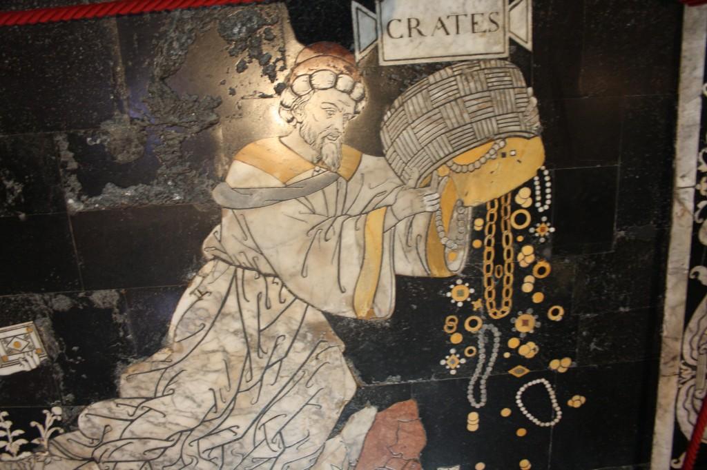 Pavement de la Cathédrale de Sienne : la Colline de la Sagesse, Crates jette ses bijoux à la mer