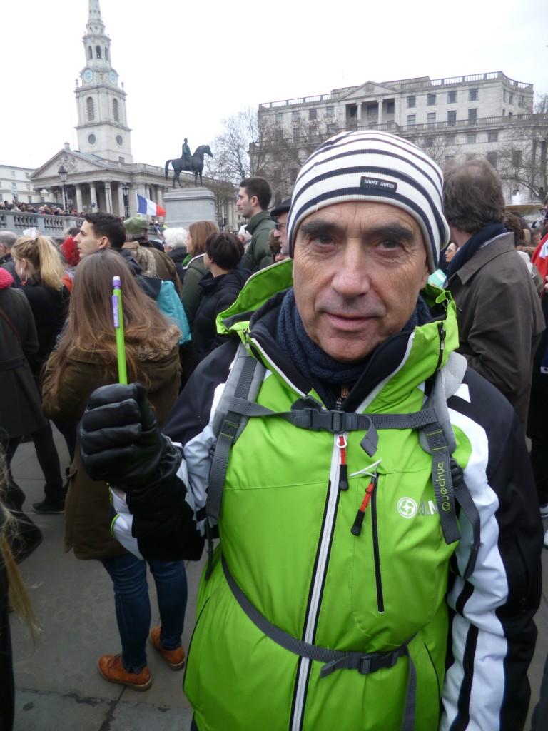 Patrick Lagadec à Londres, Trafalgar Square, le 11 janvier 2015, après les attentats