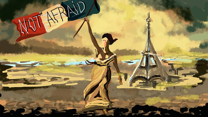 """Not afraid"", dessin de Mathilde Adorno reproduit par The Guardian"